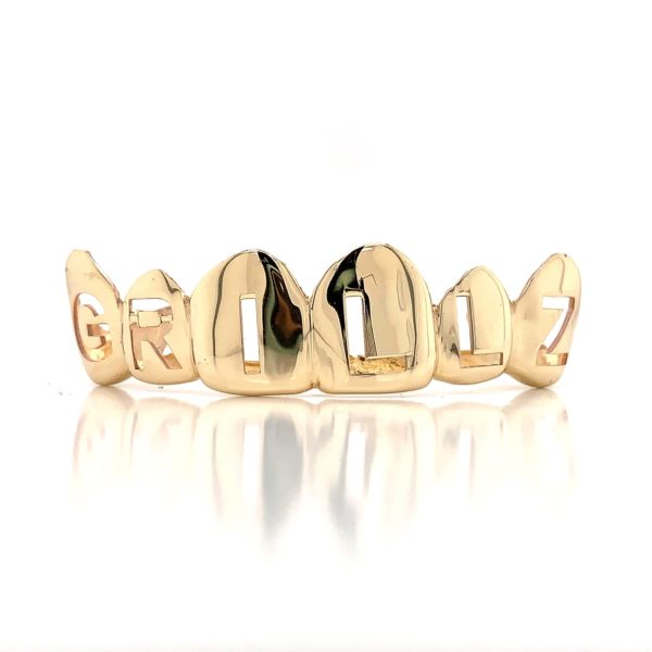 "Yellow Gold Punched Lettering ""GRILLZ"""